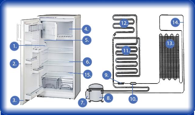 Строение холодильника